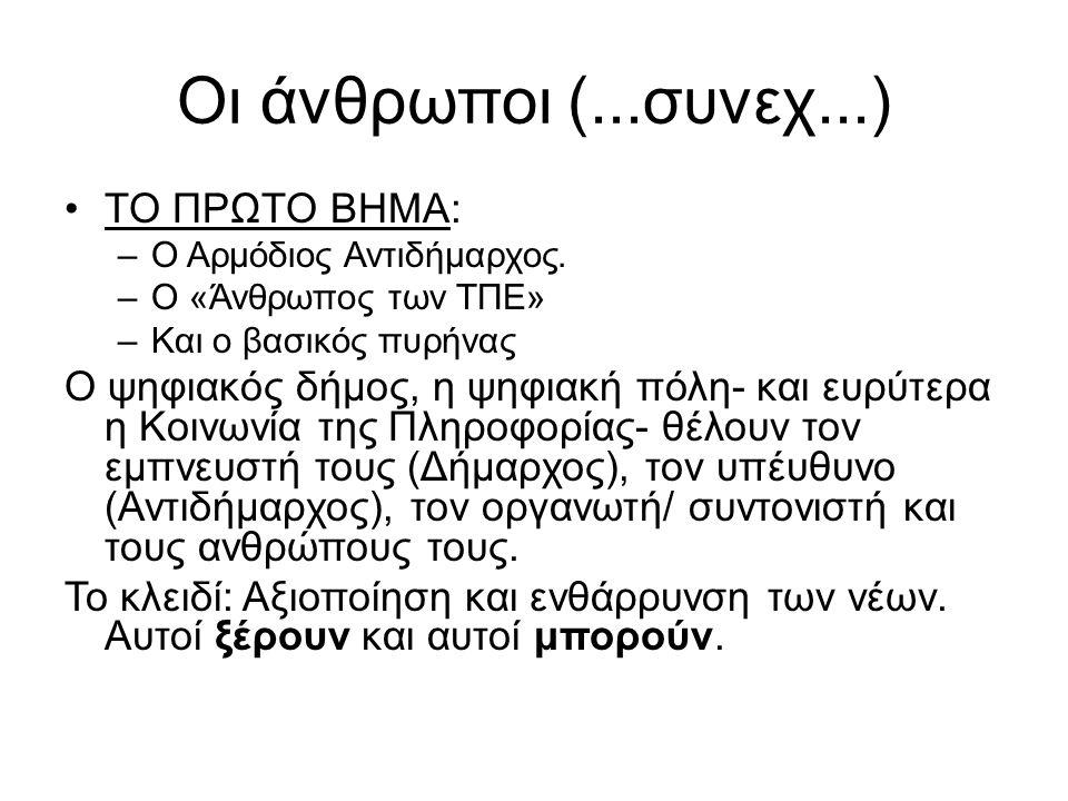 Οι άνθρωποι (...συνεχ...) •ΤΟ ΠΡΩΤΟ ΒΗΜΑ: –Ο Αρμόδιος Αντιδήμαρχος.