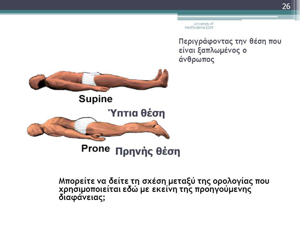 Περιγράφοντας την θέση που είναι ξαπλωμένος ο άνθρωπος Μπορείτε να δείτε τη σχέση μεταξύ της ορολογίας που χρησιμοποιείται εδώ με εκείνη της προηγούμε