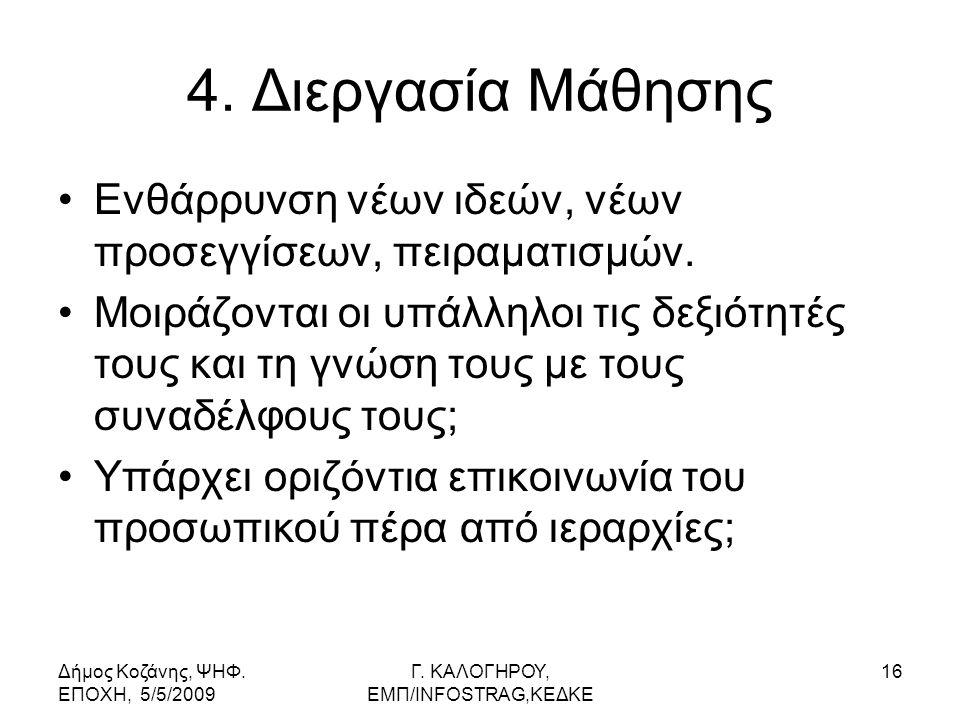 Δήμος Κοζάνης, ΨΗΦ. ΕΠΟΧΗ, 5/5/2009 Γ. KΑΛΟΓΗΡΟΥ, ΕΜΠ/INFOSTRAG,ΚΕΔΚΕ 16 4.