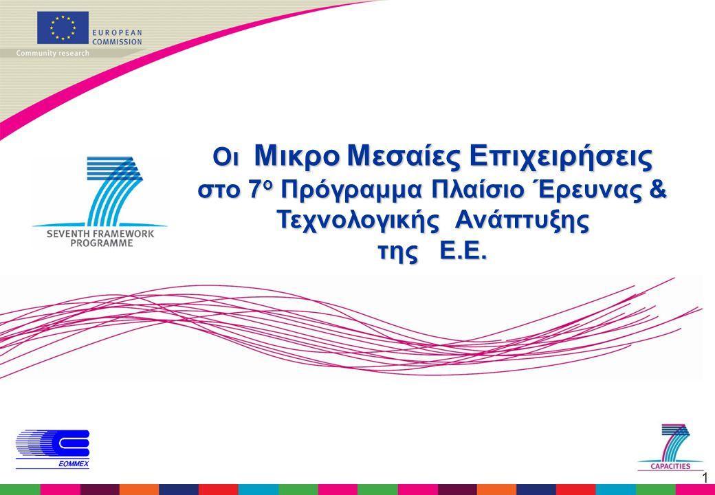 1 Οι Μικρο Μεσαίες Επιχειρήσεις στο 7 ο Πρόγραμμα Πλαίσιο Έρευνας & Τεχνολογικής Ανάπτυξης της Ε.Ε.