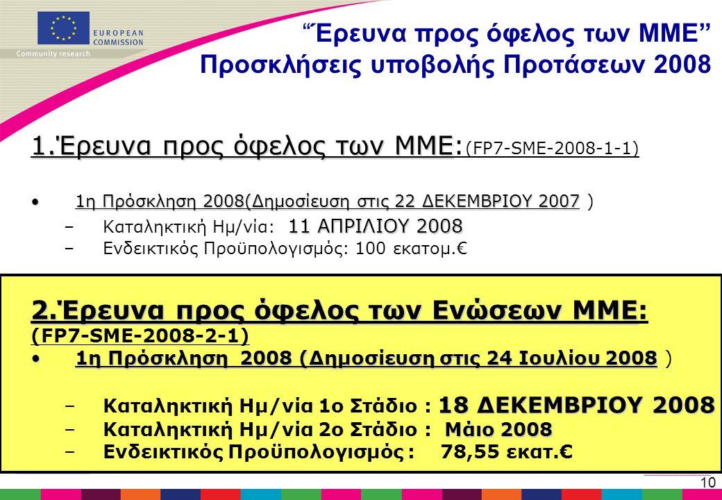 """10 """"Έρευνα προς όφελος των ΜΜΕ"""" Προσκλήσεις υποβολής Προτάσεων 2008 1.Έρευνα προς όφελος των ΜΜΕ 1.Έρευνα προς όφελος των ΜΜΕ: (FP7-SME-2008-1-1) •1η"""