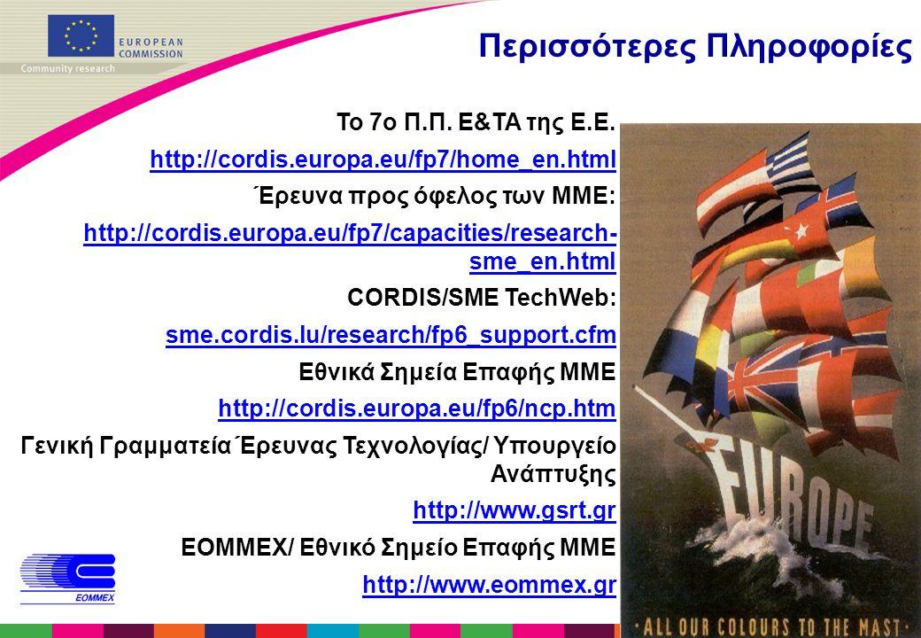 12 Περισσότερες Πληροφορίες Το 7ο Π.Π. Ε&ΤΑ της Ε.Ε. http://cordis.europa.eu/fp7/home_en.html Έρευνα προς όφελος των ΜΜΕ: http://cordis.europa.eu/fp7/