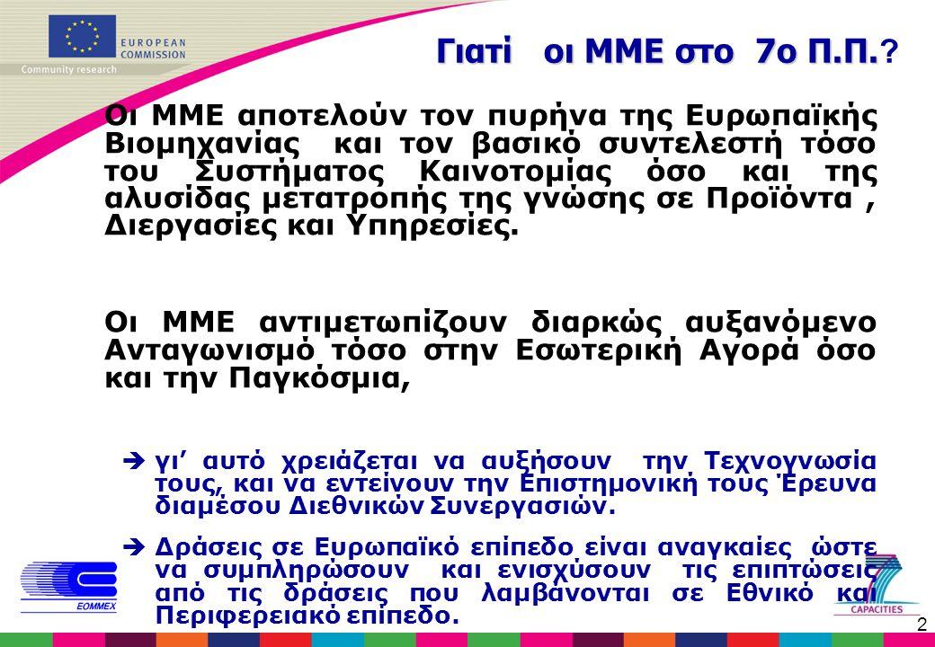2 Γιατί οι ΜΜΕ στο 7ο Π.Π. Γιατί οι ΜΜΕ στο 7ο Π.Π. ? Οι ΜΜΕ αποτελούν τον πυρήνα της Ευρωπαϊκής Βιομηχανίας και τον βασικό συντελεστή τόσο του Συστήμ