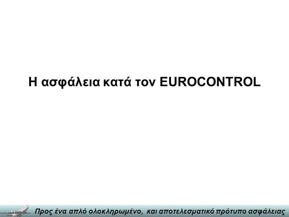 Ενότητες Παρουσίασης •Η ασφάλεια κατά τον EUROCONTROL •Μεταφορά μεθόδων και πρακτικών •Λόγοι αποτυχίας - προϋποθέσεις επιτυχίας •Συμπεράσματα και προτάσεις Προς ένα απλό ολοκληρωμένο, και αποτελεσματικό πρότυπο ασφάλειας