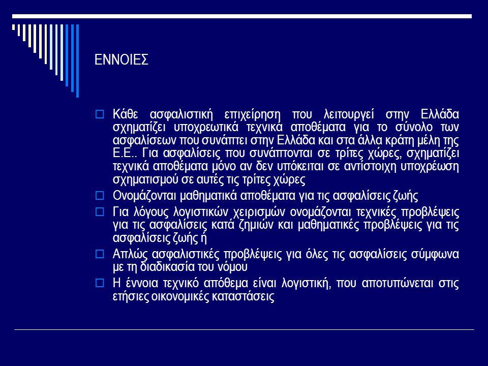 ΕΝΝΟΙΕΣ  Κάθε ασφαλιστική επιχείρηση που λειτουργεί στην Ελλάδα σχηματίζει υποχρεωτικά τεχνικά αποθέματα για το σύνολο των ασφαλίσεων που συνάπτει στην Ελλάδα και στα άλλα κράτη μέλη της Ε.Ε..