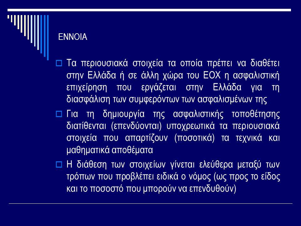 ΕΝΝΟΙΑ  Τα περιουσιακά στοιχεία τα οποία πρέπει να διαθέτει στην Ελλάδα ή σε άλλη χώρα του ΕΟΧ η ασφαλιστική επιχείρηση που εργάζεται στην Ελλάδα για τη διασφάλιση των συμφερόντων των ασφαλισμένων της  Για τη δημιουργία της ασφαλιστικής τοποθέτησης διατίθενται (επενδύονται) υποχρεωτικά τα περιουσιακά στοιχεία που απαρτίζουν (ποσοτικά) τα τεχνικά και μαθηματικά αποθέματα  Η διάθεση των στοιχείων γίνεται ελεύθερα μεταξύ των τρόπων που προβλέπει ειδικά ο νόμος (ως προς το είδος και το ποσοστό που μπορούν να επενδυθούν)