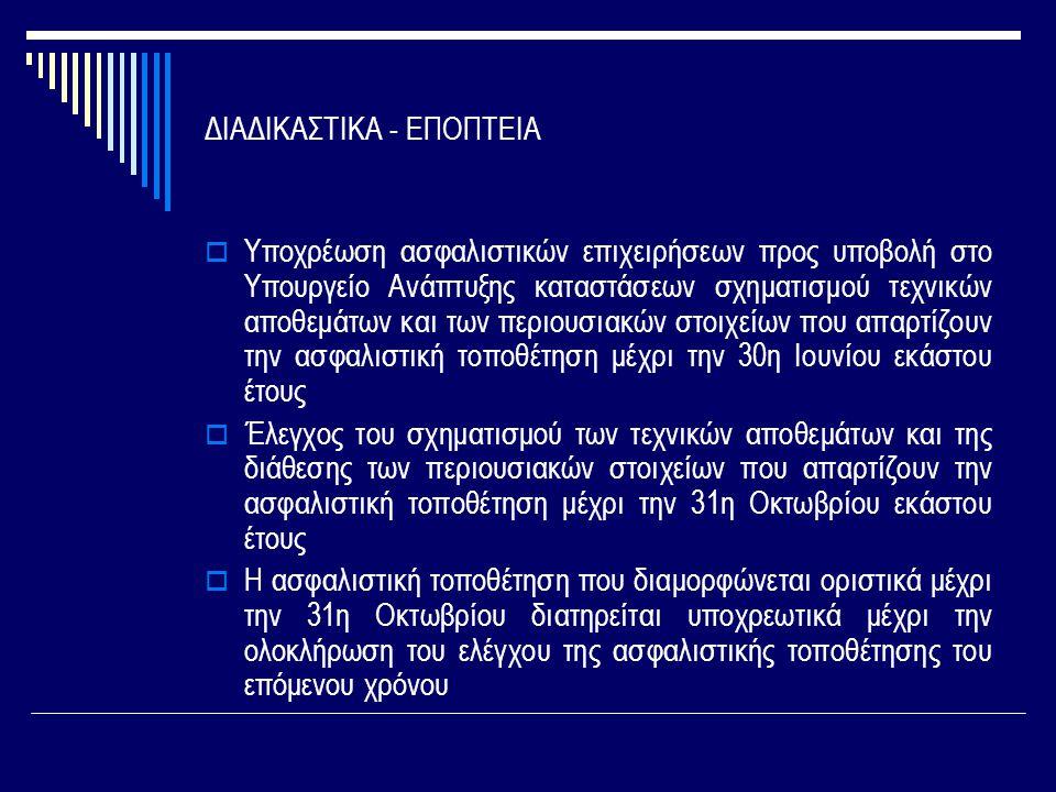 ΔΙΑΔΙΚΑΣΤΙΚΑ - ΕΠΟΠΤΕΙΑ  Υποχρέωση ασφαλιστικών επιχειρήσεων προς υποβολή στο Υπουργείο Ανάπτυξης καταστάσεων σχηματισμού τεχνικών αποθεμάτων και των περιουσιακών στοιχείων που απαρτίζουν την ασφαλιστική τοποθέτηση μέχρι την 30η Ιουνίου εκάστου έτους  Έλεγχος του σχηματισμού των τεχνικών αποθεμάτων και της διάθεσης των περιουσιακών στοιχείων που απαρτίζουν την ασφαλιστική τοποθέτηση μέχρι την 31η Οκτωβρίου εκάστου έτους  Η ασφαλιστική τοποθέτηση που διαμορφώνεται οριστικά μέχρι την 31η Οκτωβρίου διατηρείται υποχρεωτικά μέχρι την ολοκλήρωση του ελέγχου της ασφαλιστικής τοποθέτησης του επόμενου χρόνου