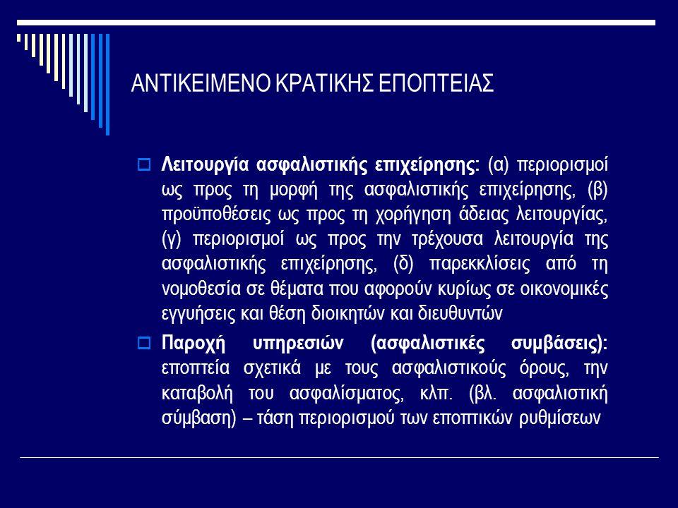 ΑΝΤΙΚΕΙΜΕΝΟ ΚΡΑΤΙΚΗΣ ΕΠΟΠΤΕΙΑΣ  Λειτουργία ασφαλιστικής επιχείρησης: (α) περιορισμοί ως προς τη μορφή της ασφαλιστικής επιχείρησης, (β) προϋποθέσεις ως προς τη χορήγηση άδειας λειτουργίας, (γ) περιορισμοί ως προς την τρέχουσα λειτουργία της ασφαλιστικής επιχείρησης, (δ) παρεκκλίσεις από τη νομοθεσία σε θέματα που αφορούν κυρίως σε οικονομικές εγγυήσεις και θέση διοικητών και διευθυντών  Παροχή υπηρεσιών (ασφαλιστικές συμβάσεις): εποπτεία σχετικά με τους ασφαλιστικούς όρους, την καταβολή του ασφαλίσματος, κλπ.