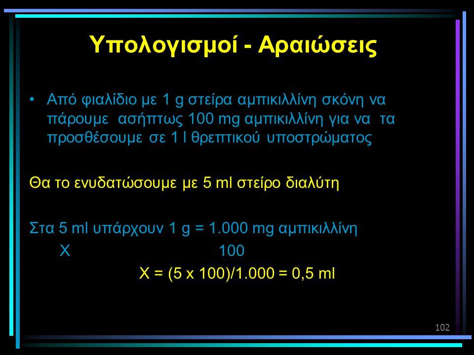 102 Υπολογισμοί - Αραιώσεις •Από φιαλίδιο με 1 g στείρα αμπικιλλίνη σκόνη να πάρουμε ασήπτως 100 mg αμπικιλλίνη για να τα προσθέσουμε σε 1 l θρεπτικού