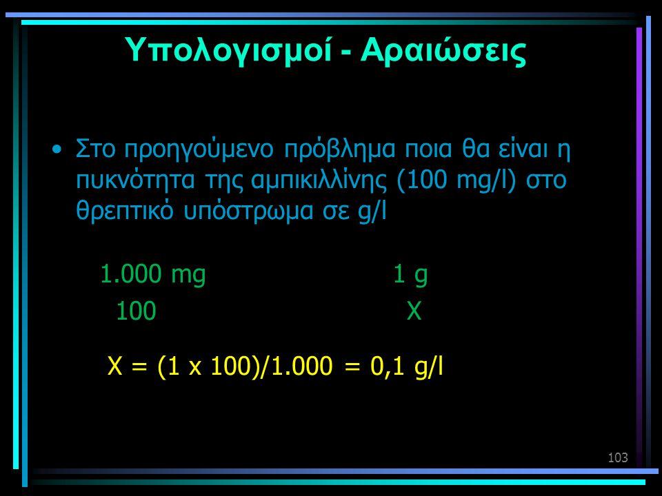 103 Υπολογισμοί - Αραιώσεις •Στο προηγούμενο πρόβλημα ποια θα είναι η πυκνότητα της αμπικιλλίνης (100 mg/l) στο θρεπτικό υπόστρωμα σε g/l 1.000 mg 1 g