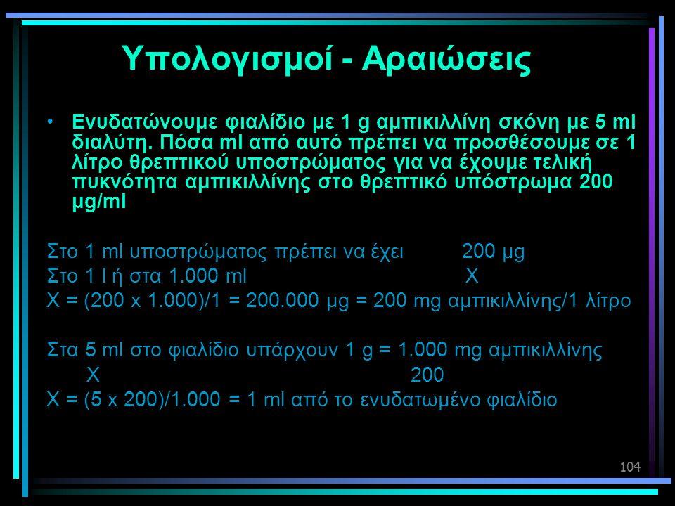 104 Υπολογισμοί - Αραιώσεις •Ενυδατώνουμε φιαλίδιο με 1 g αμπικιλλίνη σκόνη με 5 ml διαλύτη. Πόσα ml από αυτό πρέπει να προσθέσουμε σε 1 λίτρο θρεπτικ
