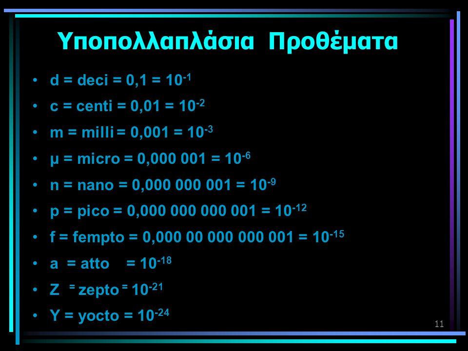 11 Υποπολλαπλάσια Προθέματα •d = deci = 0,1 = 10 -1 •c = centi = 0,01 = 10 -2 •m = milli = 0,001 = 10 -3 •μ = micro = 0,000 001 = 10 -6 •n = nano = 0,