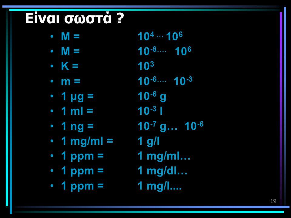 19 Είναι σωστά ? •Μ = 10 4 … 10 6 •Μ = 10 -8…. 10 6 •Κ = 10 3 •m = 10 -6…. 10 -3 •1 μg = 10 -6 g •1 ml = 10 -3 l •1 ng = 10 -7 g… 10 -6 •1 mg/ml = 1 g