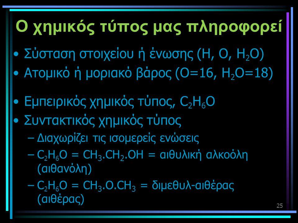 25 Ο χημικός τύπος μας πληροφορεί •Σύσταση στοιχείου ή ένωσης (H, O, H 2 O) •Ατομικό ή μοριακό βάρος (O=16, H 2 O=18) •Εμπειρικός χημικός τύπος, C 2 H