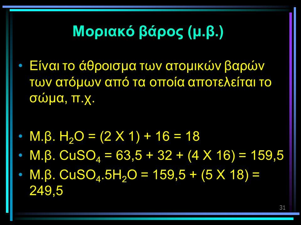 31 Μοριακό βάρος (μ.β.) •Είναι το άθροισμα των ατομικών βαρών των ατόμων από τα οποία αποτελείται το σώμα, π.χ. •Μ.β. Η 2 Ο = (2 Χ 1) + 16 = 18 •Μ.β.
