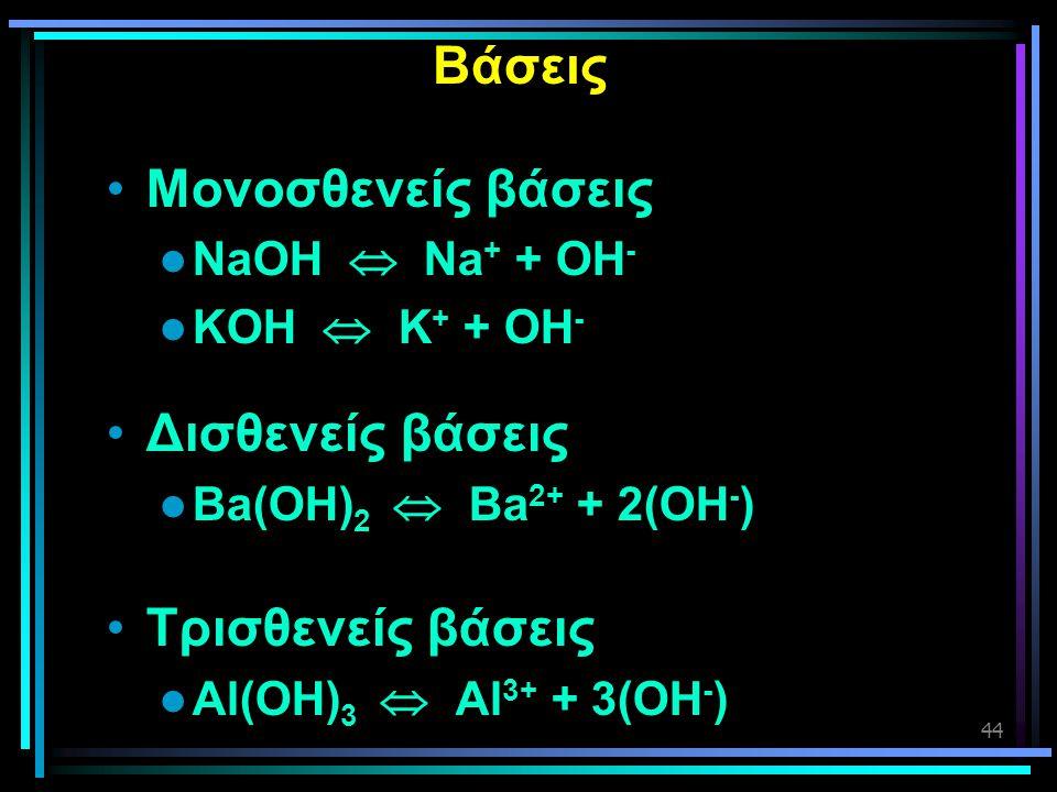 44 Βάσεις •Μονοσθενείς βάσεις  NaOH  Na + + OH -  KOH  K + + OH - •Δισθενείς βάσεις  Ba(OH) 2  Ba 2+ + 2(OH - ) •Τρισθενείς βάσεις  Al(OH) 3 