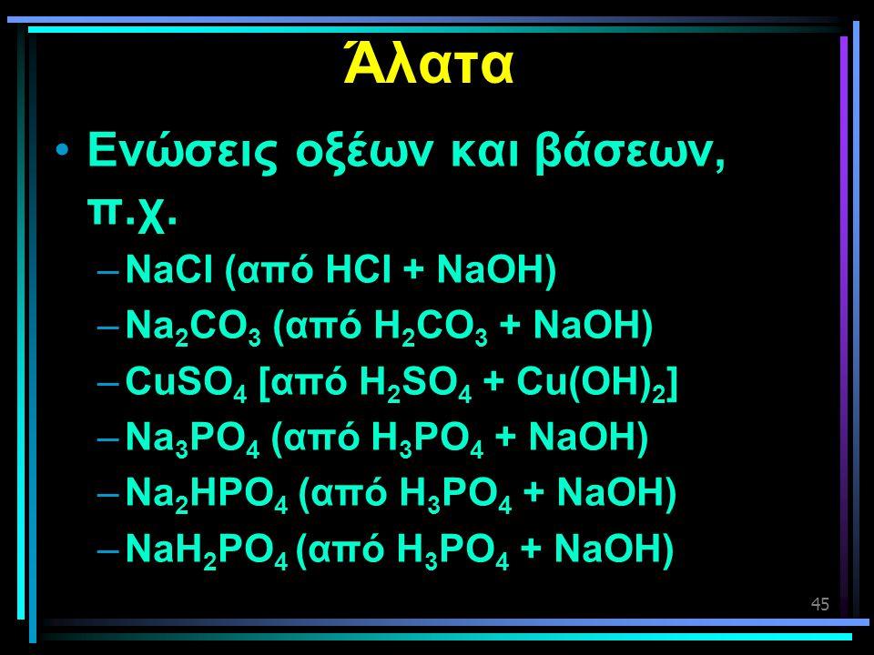 45 Άλατα •Ενώσεις οξέων και βάσεων, π.χ. –NaCl (από HCl + NaOH) –Na 2 CO 3 (από H 2 CO 3 + NaOH) –CuSO 4 [από H 2 SO 4 + Cu(OH) 2 ] –Na 3 PO 4 (από H
