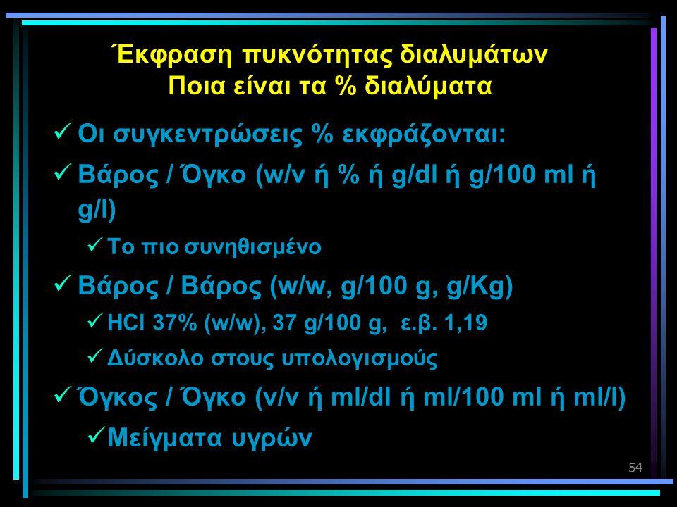 54 Έκφραση πυκνότητας διαλυμάτων Ποια είναι τα % διαλύματα  Οι συγκεντρώσεις % εκφράζονται:  Βάρος / Όγκο (w/v ή % ή g/dl ή g/100 ml ή g/l)  Το πιο