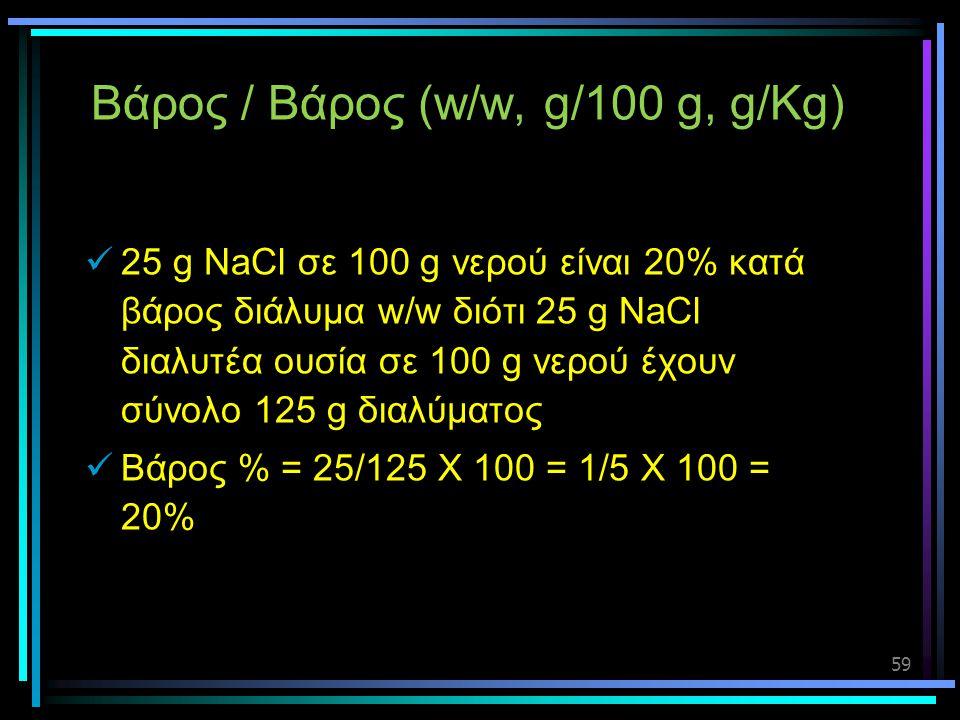 59 Βάρος / Βάρος (w/w, g/100 g, g/Kg)  25 g NaCl σε 100 g νερού είναι 20% κατά βάρος διάλυμα w/w διότι 25 g NaCl διαλυτέα ουσία σε 100 g νερού έχουν