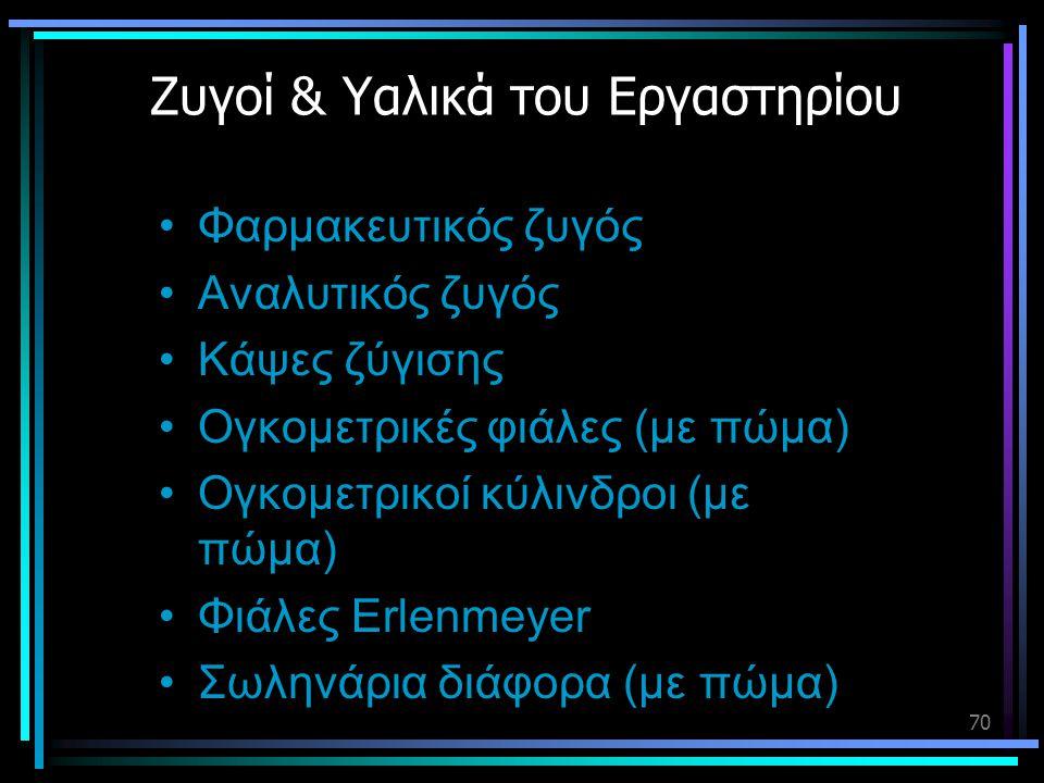 70 Ζυγοί & Υαλικά του Εργαστηρίου •Φαρμακευτικός ζυγός •Αναλυτικός ζυγός •Κάψες ζύγισης •Ογκομετρικές φιάλες (με πώμα) •Ογκομετρικοί κύλινδροι (με πώμ