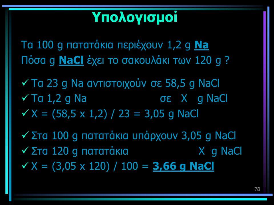 78 Υπολογισμοί Τα 100 g πατατάκια περιέχουν 1,2 g Na Πόσα g NaCl έχει το σακουλάκι των 120 g ?  Τα 23 g Na αντιστοιχούν σε 58,5 g NaCl  Τα 1,2 g Na