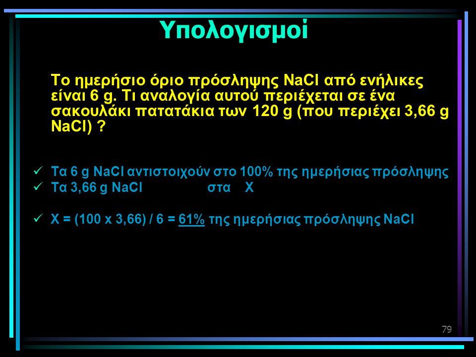 79 Υπολογισμοί Το ημερήσιο όριο πρόσληψης NaCl από ενήλικες είναι 6 g. Τι αναλογία αυτού περιέχεται σε ένα σακουλάκι πατατάκια των 120 g (που περιέχει