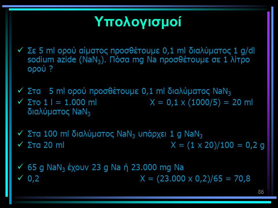 86 Υπολογισμοί  Σε 5 ml ορού αίματος προσθέτουμε 0,1 ml διαλύματος 1 g/dl sodium azide (NaN 3 ). Πόσα mg Na προσθέτουμε σε 1 λίτρο ορού ?  Στα 5 ml