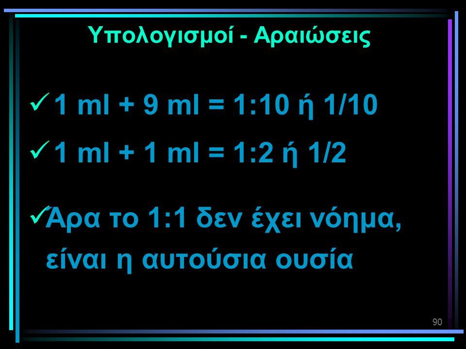 90 Υπολογισμοί - Αραιώσεις  1 ml + 9 ml = 1:10 ή 1/10  1 ml + 1 ml = 1:2 ή 1/2  Άρα το 1:1 δεν έχει νόημα, είναι η αυτούσια ουσία