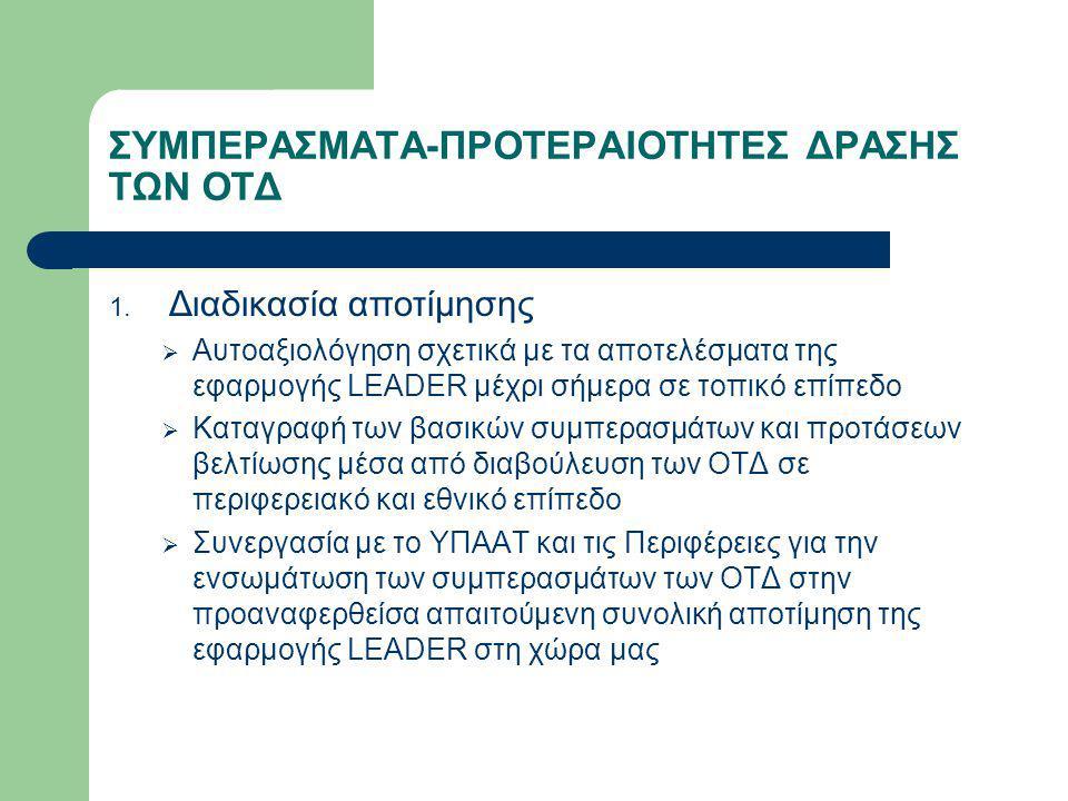 ΣΥΜΠΕΡΑΣΜΑΤΑ-ΠΡΟΤΕΡΑΙΟΤΗΤΕΣ ΔΡΑΣΗΣ ΤΩΝ ΟΤΔ 1. Διαδικασία αποτίμησης  Αυτοαξιολόγηση σχετικά με τα αποτελέσματα της εφαρμογής LEADER μέχρι σήμερα σε τ