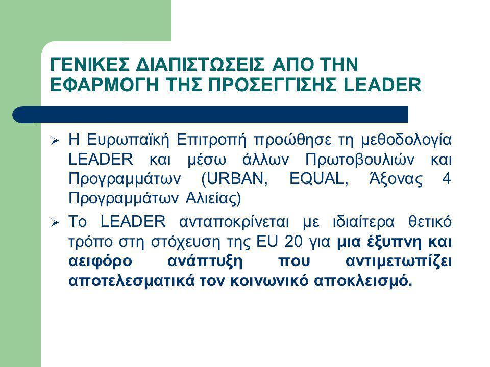 ΓΕΝΙΚΕΣ ΔΙΑΠΙΣΤΩΣΕΙΣ ΑΠΟ ΤΗΝ ΕΦΑΡΜΟΓΗ ΤΗΣ ΠΡΟΣΕΓΓΙΣΗΣ LEADER  Η Ευρωπαϊκή Επιτροπή προώθησε τη μεθοδολογία LEADER και μέσω άλλων Πρωτοβουλιών και Προ