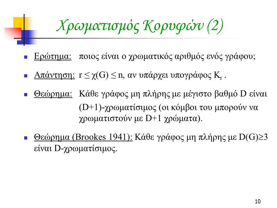 10 Χρωματισμός Κορυφών (2)  Ερώτημα: ποιος είναι ο χρωματικός αριθμός ενός γράφου;  Απάντηση: r ≤ χ(G) ≤ n, αν υπάρχει υπογράφος K r.