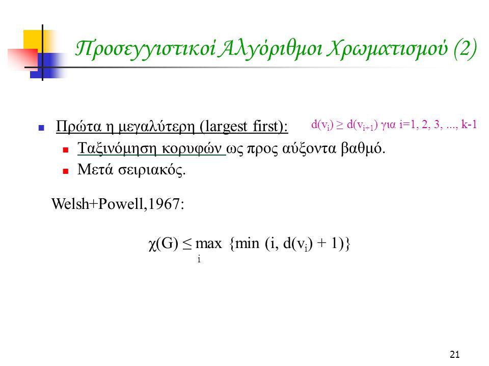 21 Προσεγγιστικοί Αλγόριθμοι Χρωματισμού (2)  Πρώτα η μεγαλύτερη (largest first):  Ταξινόμηση κορυφών ως προς αύξοντα βαθμό.