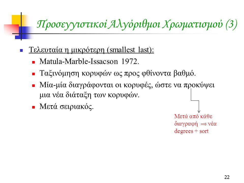 22 Προσεγγιστικοί Αλγόριθμοι Χρωματισμού (3)  Τελευταία η μικρότερη (smallest last):  Matula-Marble-Issacson 1972.