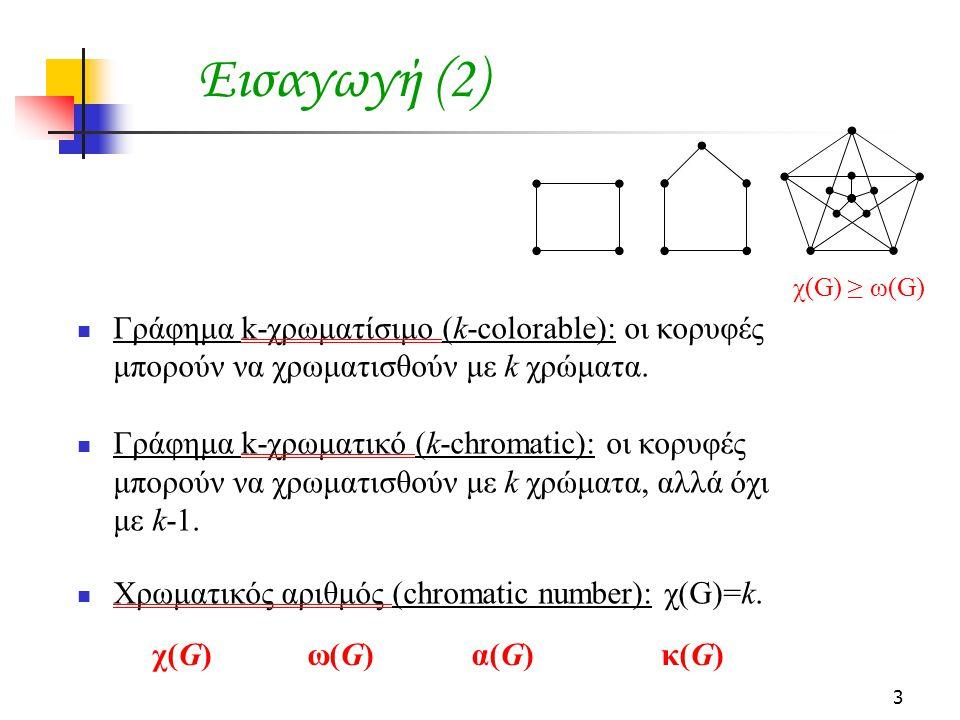 3 Εισαγωγή (2)  Γράφημα k-χρωματίσιμο (k-colorable): οι κορυφές μπορούν να χρωματισθούν με k χρώματα.