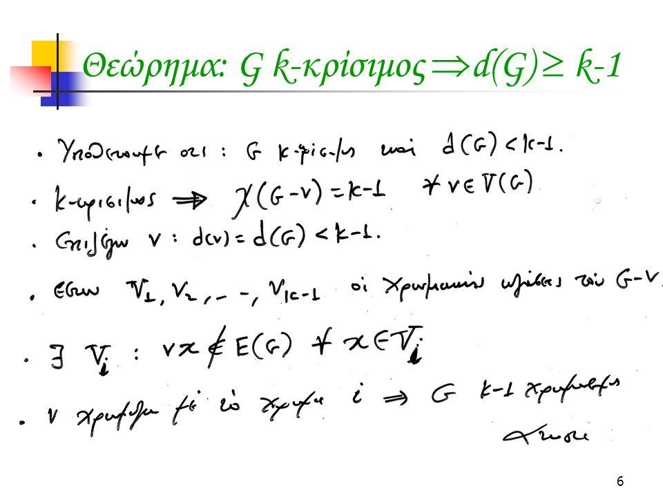 6 Θεώρημα: G k-κρίσιμος  d(G)  k-1