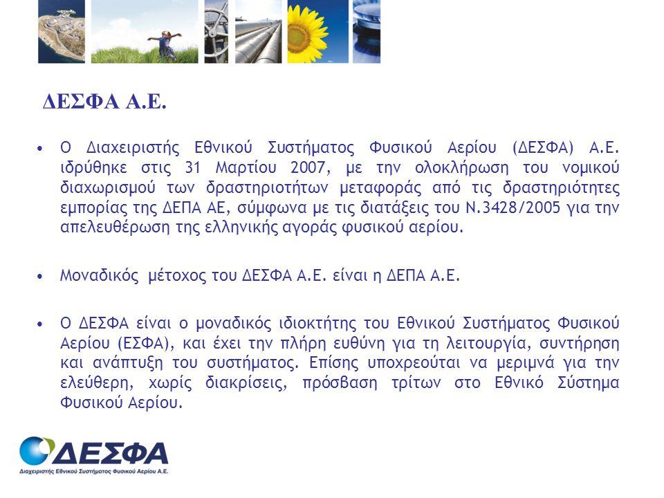 ΔΕΣΦΑ Α.Ε. •Ο Διαχειριστής Εθνικού Συστήματος Φυσικού Αερίου (ΔΕΣΦΑ) Α.Ε. ιδρύθηκε στις 31 Μαρτίου 2007, με την ολοκλήρωση του νομικού διαχωρισμού των