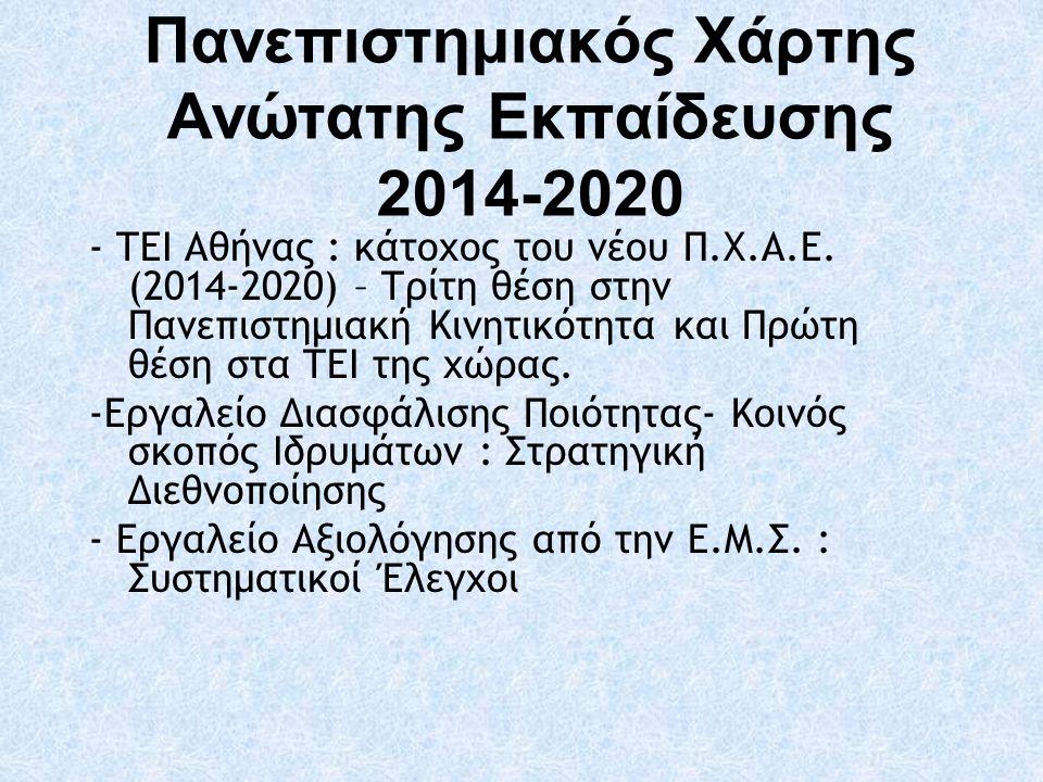 Πανεπιστημιακός Χάρτης Aνώτατης Εκπαίδευσης 2014-2020 - ΤΕΙ Αθήνας : κάτοχος του νέου Π.Χ.Α.Ε. (2014-2020) – Τρίτη θέση στην Πανεπιστημιακή Κινητικότη