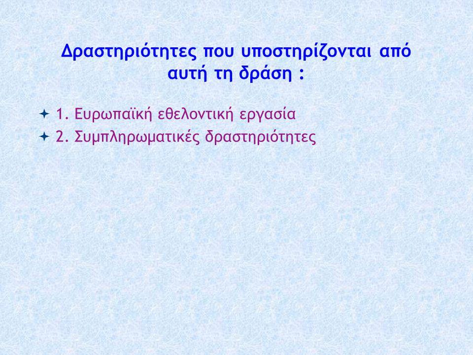 Δραστηριότητες που υποστηρίζονται από αυτή τη δράση :  1. Ευρωπαϊκή εθελοντική εργασία  2. Συμπληρωματικές δραστηριότητες