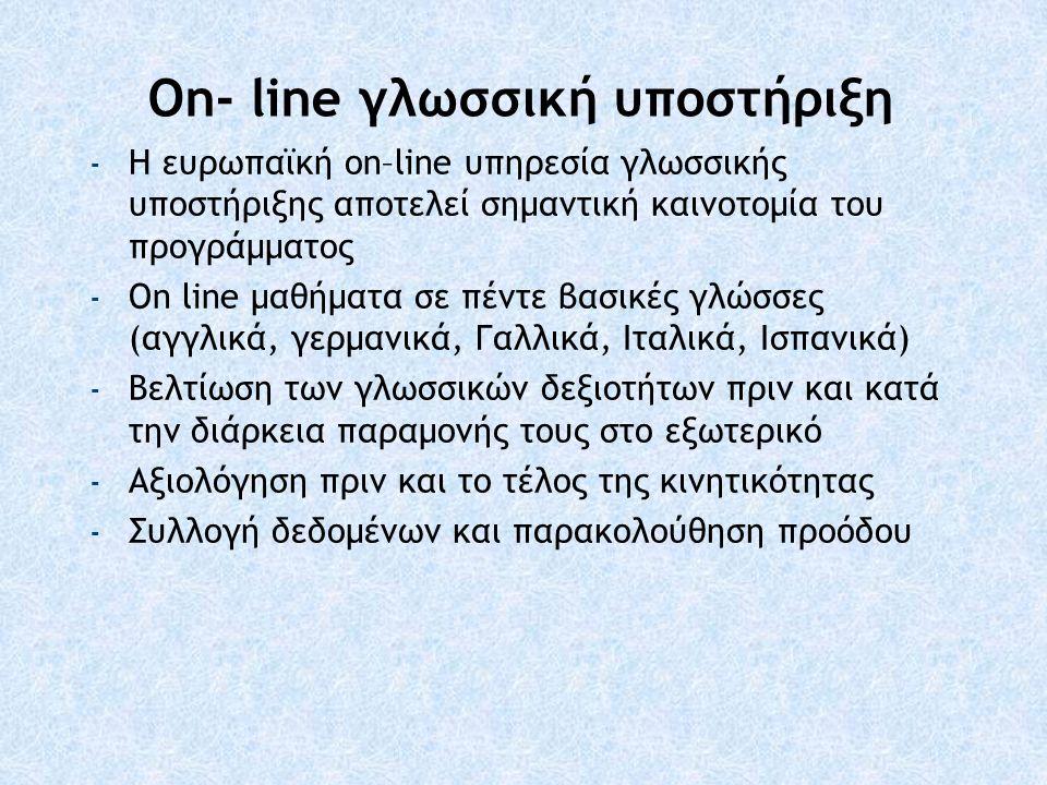 On- line γλωσσική υποστήριξη - Η ευρωπαϊκή οn–line υπηρεσία γλωσσικής υποστήριξης αποτελεί σημαντική καινοτομία του προγράμματος - On line μαθήματα σε