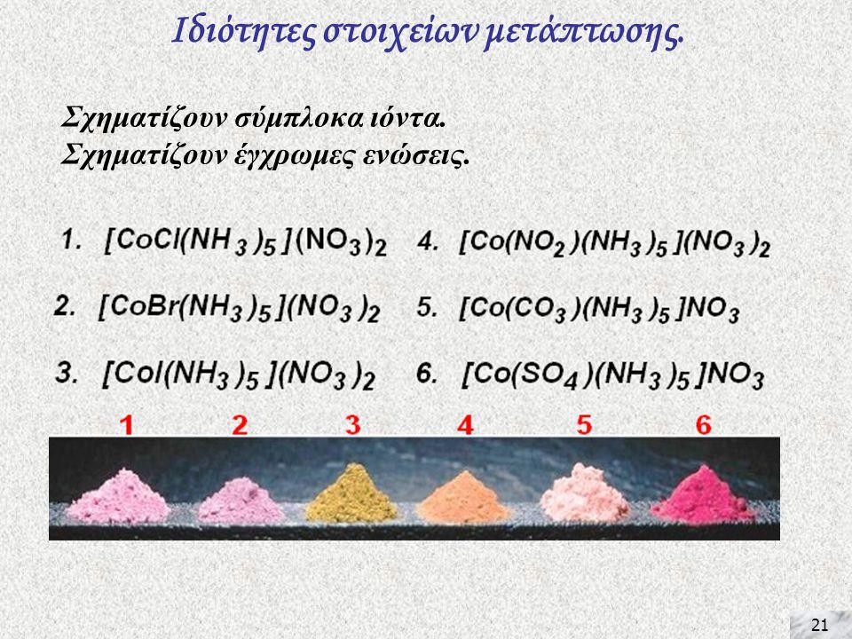 21 Ιδιότητες στοιχείων μετάπτωσης. Σχηματίζουν σύμπλοκα ιόντα. Σχηματίζουν έγχρωμες ενώσεις.