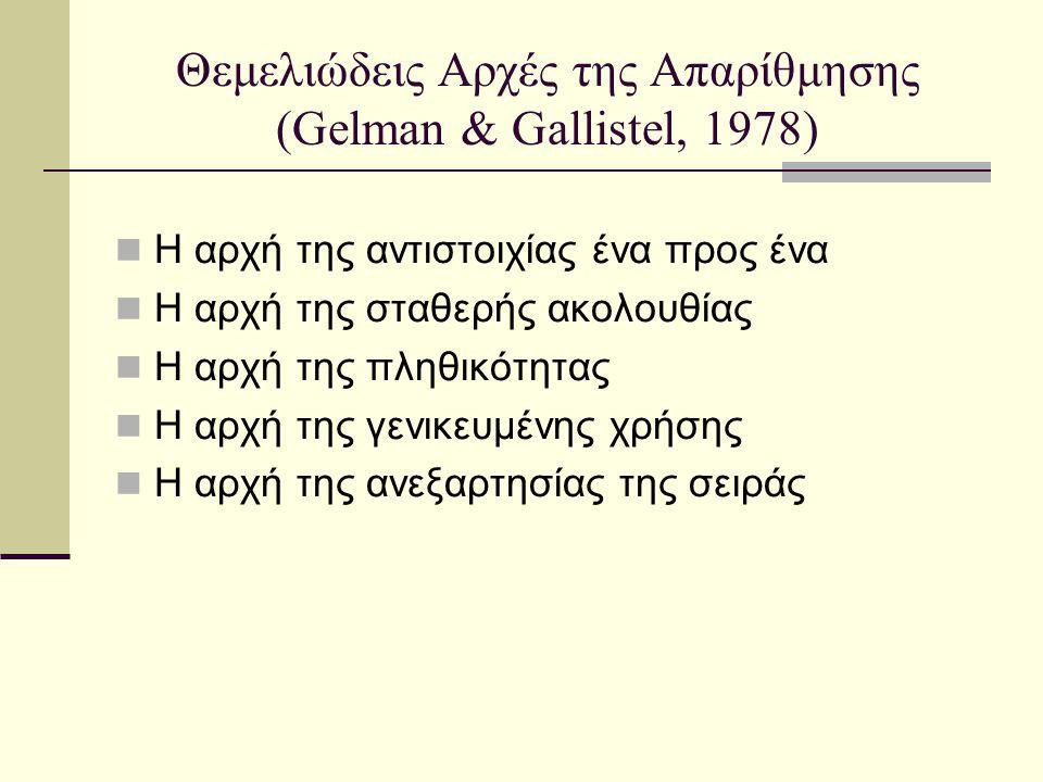 Θεμελιώδεις Αρχές της Απαρίθμησης (Gelman & Gallistel, 1978)  Η αρχή της αντιστοιχίας ένα προς ένα  Η αρχή της σταθερής ακολουθίας  Η αρχή της πληθ
