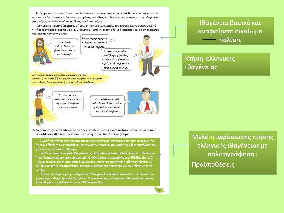 Ιθαγένεια βασικό και αναφαίρετο δικαίωμα πολίτης Μελέτη περίπτωσης κτήσης ελληνικής ιθαγένειας με πολιτογράφηση : Προϋποθέσεις Μελέτη περίπτωσης κτήση