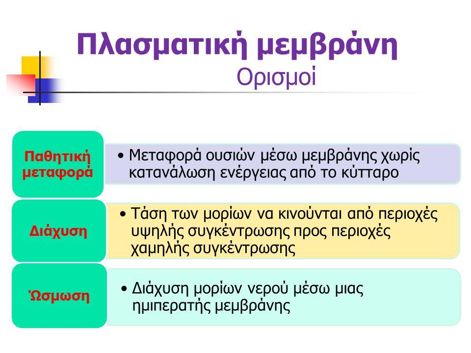 Πλασματική μεμβράνη Ορισμοί •Μεταφορά ουσιών μέσω μεμβράνης με κατανάλωση ενέργειας από το κύτταρο Ενεργητική μεταφορά •Μηχανισμός μεταφοράς ιόντων από περιοχή χαμηλής συγκέντρωσης προς περιοχή υψηλής συγκέντρωσης μέσω μεμβράνης Αντλία K + - Na + •Εγκόλπωση, περικύκλωση και εισαγωγή μιας ουσίας μέσα στο κύτταρο με μορφή κυστιδίου που έχει σαν περίβλημα ένα τμήμα της μεμβράνης Ενδοκύττωση