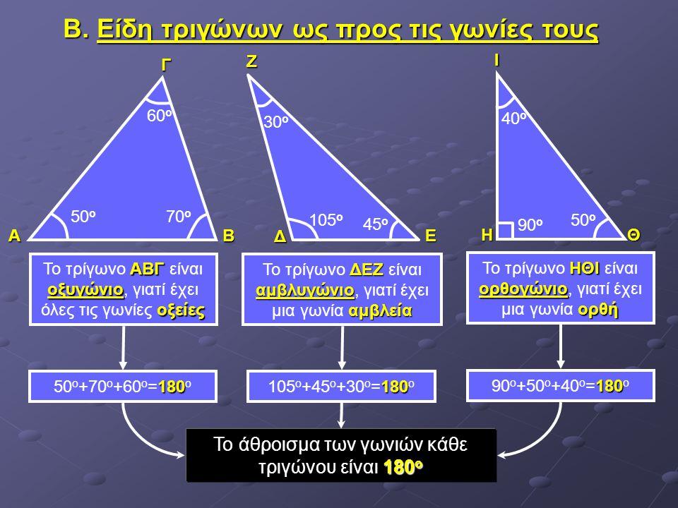 ΑΓΒ Β. Είδη τριγώνων ως προς τις γωνίες τους 50 ο 60 ο 70 ο Δ ΕΖ ΗΙΘ ΑΒΓ οξυγώνιο οξείες Το τρίγωνο ΑΒΓ είναι οξυγώνιο, γιατί έχει όλες τις γωνίες οξε