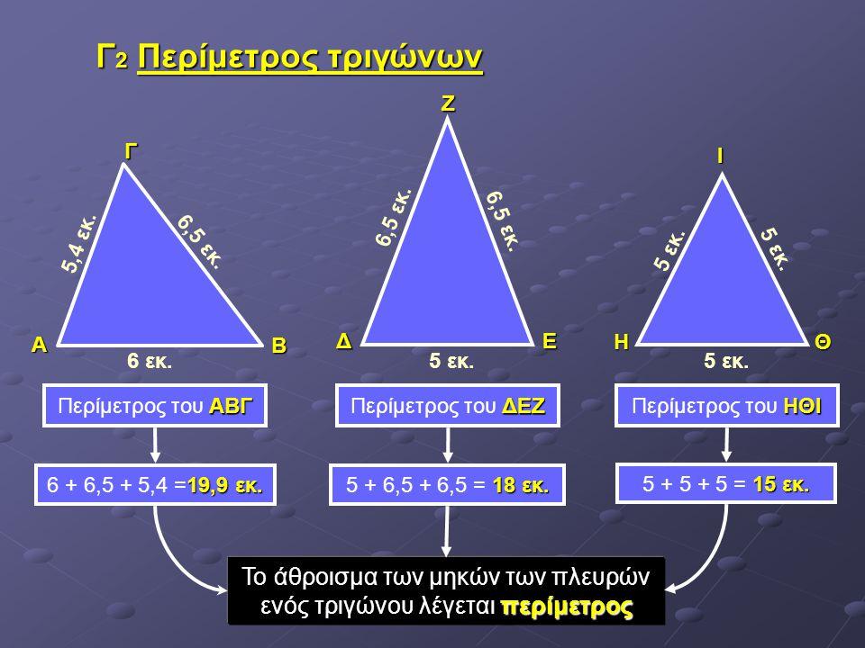 Γ 2 Περίμετρος τριγώνων ΔΕΖ ΗΙΘ 5 εκ. 6,5 εκ. 6 εκ. 5,4 εκ. 6,5 εκ. ΑΓΒ ΑΒΓ Περίμετρος του ΑΒΓ ΔΕΖ Περίμετρος του ΔΕΖ ΗΘΙ Περίμετρος του ΗΘΙ Το άθροισ