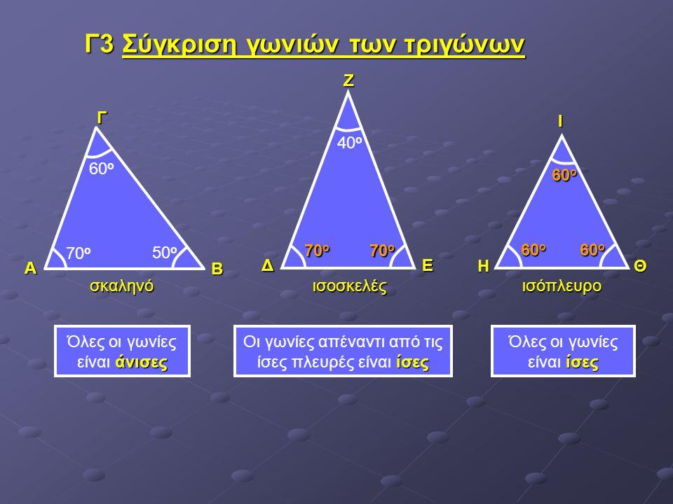Γ3 Σύγκριση γωνιών των τριγώνων άνισες Όλες οι γωνίες είναι άνισες ίσες Οι γωνίες απέναντι από τις ίσες πλευρές είναι ίσες ίσες Όλες οι γωνίες είναι ί