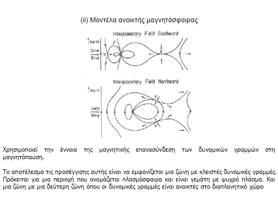 (ii) Μοντέλα ανοικτής μαγνητόσφαιρας Xρησιμοποιεί την έννοια της μαγνητικής επανασύνδεση των δυναμικών γραμμών στη μαγνητόπαυση. Το αποτέλεσμα τις προ