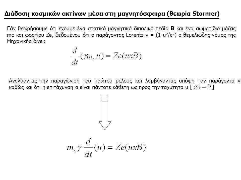 Διάδοση κοσμικών ακτίνων μέσα στη μαγνητόσφαιρα (θεωρία Stormer) Εάν θεωρήσουμε ότι έχουμε ένα στατικό μαγνητικό διπολικό πεδίο B και ένα σωματίδιο μά