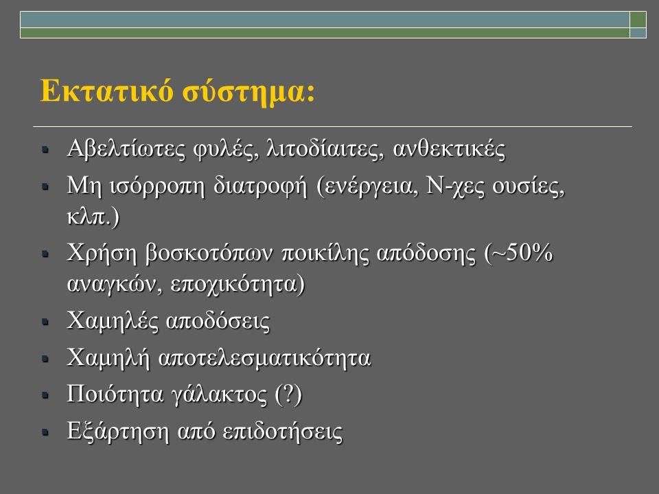 Εκτατικό σύστημα:  Αβελτίωτες φυλές, λιτοδίαιτες, ανθεκτικές  Μη ισόρροπη διατροφή (ενέργεια, Ν-χες ουσίες, κλπ.)  Χρήση βοσκοτόπων ποικίλης απόδοσ