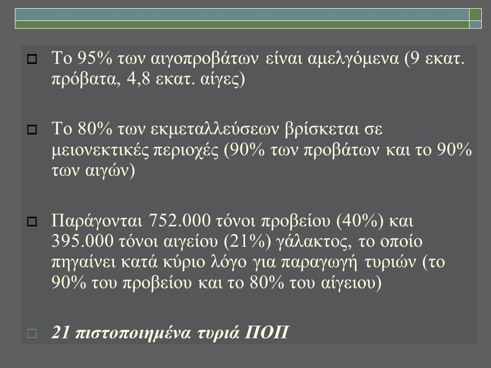 Παραγωγή φέτας ΠΟΠ (σε τόνους) Πηγή: ΕΛΓΟ-ΔΗΜΗΤΡΑ